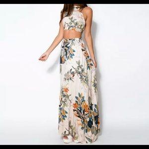 Floral Casual Beach Dress Crop Top+Long Skirt